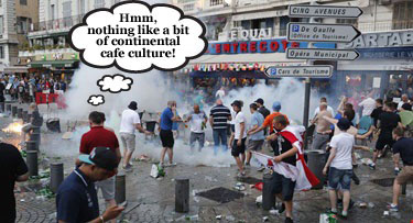 English football fans embrace continental cafe culture