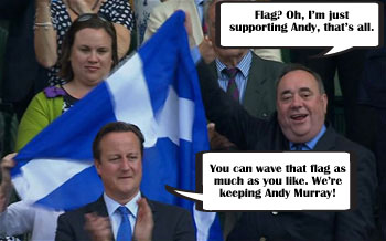 Alex Salmond criticised for waving the Saltire behind David Cameron at Wimbledon