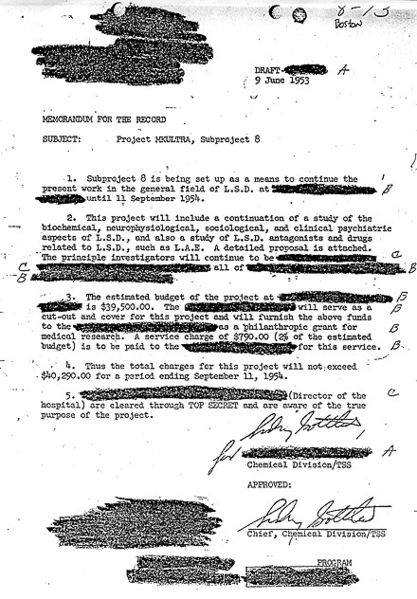 Dr. Sidney Gottlieb's approval of a MKULTRA subproject on LSD