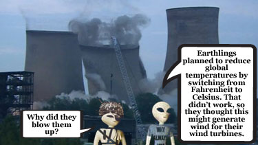 Earthlings blow up power station