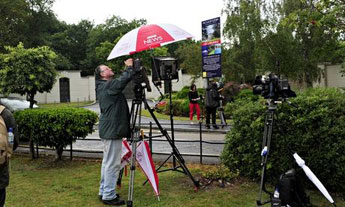 BBC News setting up outside Cliff Richard's property. Photograph: Peter/Barcroft Media