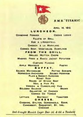 A menu of the last meal served to first-class passengers on board the Titanic