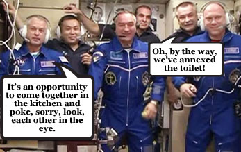 Nasa and Russian astronauts put Ukraine tensions behind them on board ISS